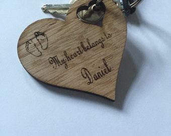 Heart keychain(wood oak)