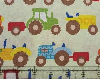 "Nursery Fabric: Riley Blake Design - Apple Heel Farm Tractors  100% cotton Fabric by the yard 36""x43"" (H107)"