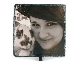 Personalised Rock Slate Photo Frame 20cm x 20cm
