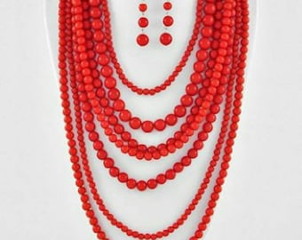 Red hand beaded 7-layers jewellery set - necklace with earrings