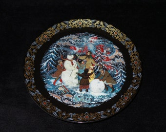 """1992 Byliny Porcelain The Tale of Father Frost """"A Snowy Playland"""" Christmas Plate by Oleg Vladimirovich"""