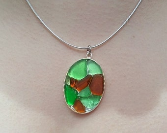 Beach Glass Mosaic Necklace (N0701)