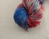Sock Yarn - Fireworks Colorway -  Merino Wool, Nylon Blend - Hand Dyed - Knit - Crochet - Fingering Weight