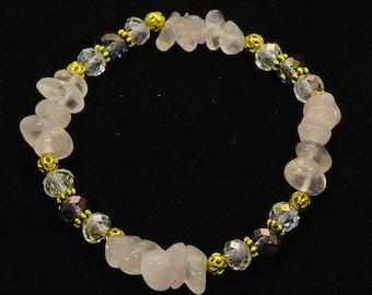 Rose Quartz Gemstone Bracelet, Crystal Healing Bracelet