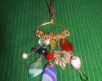 Brown leather with semi-precious stones Pendant Necklace: beads, Crystal and gold leaf