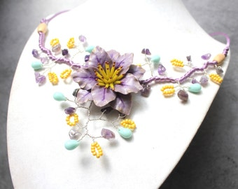 Necklace violet Parma Catctus.