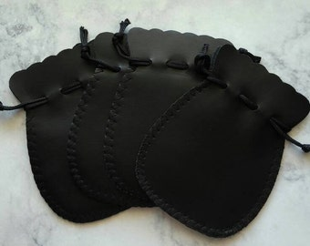 Black leather gift pouches