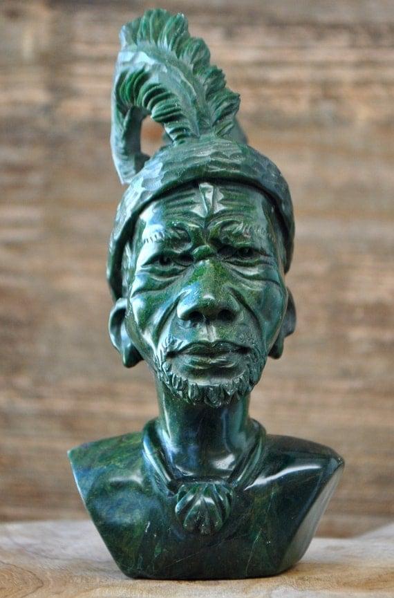 Green verdite shona tribe stone carving sculpture