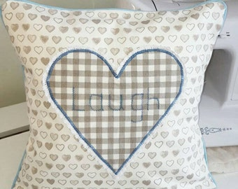 Shabby chic heart cushion cover - Heart appliqué - laugh sentiment - decorative scatter cushion cover - handmade
