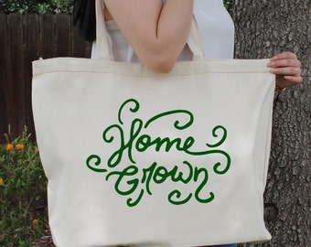 Home Grown~ Large Canvas Tote Beach/Grocery BAG