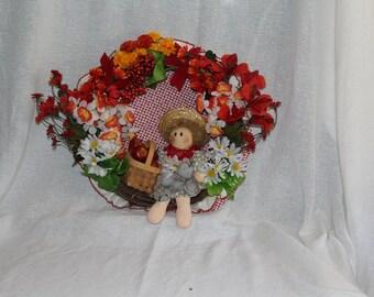 Boy With Apple Basket Wreath