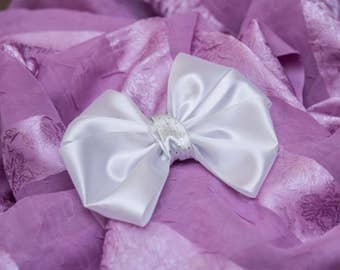 White bow, metal hair barrette, girl hair accessory, gift