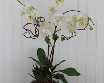 Exotic Wood Vase w/Silk Flower Arrangement