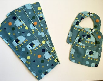 Blue Elephant Bibs and Burp Cloths