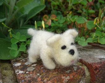 Wee little westie puppy needle felted ornamental gift