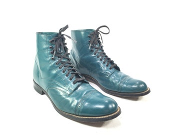 9D-1980's Men's Turquoise Leather Boots By Stacy Adams Size 9 D, Vintage 80's Stacy Adams Victorian Style Men's Shoes, Steampunk Boots