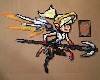 Mercy - Overwatch Hero Pixel Spray - Perler Bead Sprite Art Figure