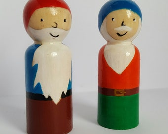 Pair of wooden peg doll gnome pals