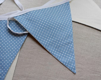 Lovingly Handmade Bunting 4m Light Blue Dotty Pattern