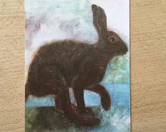 Art card running rabbit