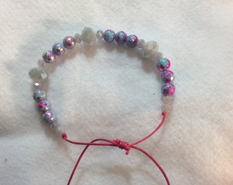 Pink and blue beaded  adjustable bracelet