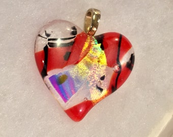 One of a kind handmade Fused glass & dichro Heart pendant with Sterling silver wing