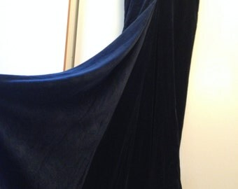 Long skirt velvet Vivienne Westwood evening stretch dark blue with train and possibility to shorten with drapery.