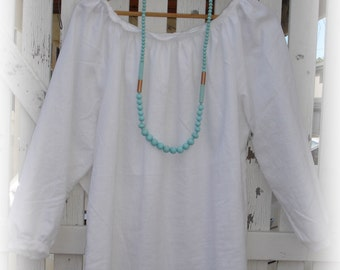 White Linen Blouse with Ruffles one size fits most