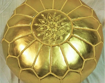 SALE ** STUFFED Moroccan Faux Leather pouf ottoman with top embroidery in Gold