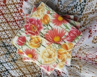 Floral Handmade Tile Coasters, Set of 4, Drink Coasters Beverage Coasters