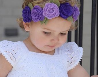 Purple Flower Crown / Flower Headband  / Baby Headband / Toddler Headband / Headbands / Felt Flower Headband / Toddler Crown / Baby Crown /