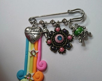 Together we can make a difference cluster and bling kilt pin
