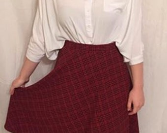 Librarian plaid print skirt