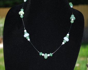 Green and Cream Bead Necklace