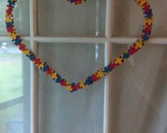 Autism puzzle piece wreath