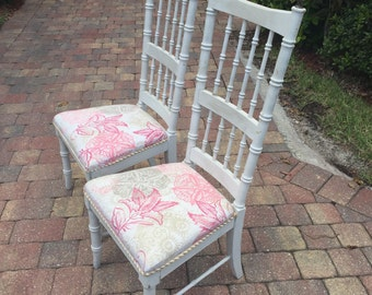 Vintage Faux Bamboo Pair of Chairs