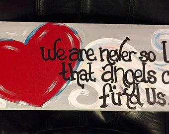 Hand painted 8x 22 wooden Never So Lost angel wings