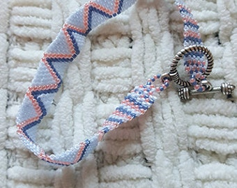 Denim & Coral Zig-Zag Beaded Bracelet