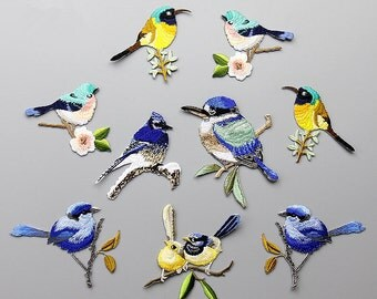 Embroidery Bird Applique Love birds Hand sewing DIY clothing accessories DIY clothing dress skirt