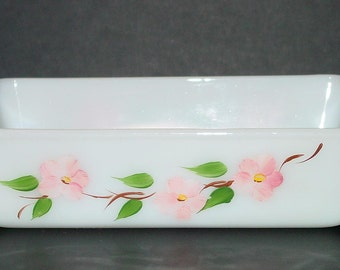 Fire King Peach Blossom 1 Qt. Casserole Dish Hand Painted Gay Fad