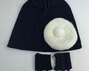 American Girl Doll Samantha Plaid Cape Gaiters Elegant Hat Changes for Samantha