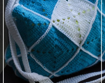 Blue granny square bag
