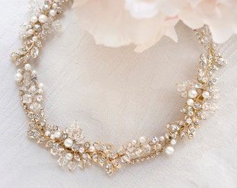 Bridal Necklace & Earrings Set with crystal and fresh water pearl #122938