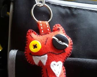 Red felt monster keyring