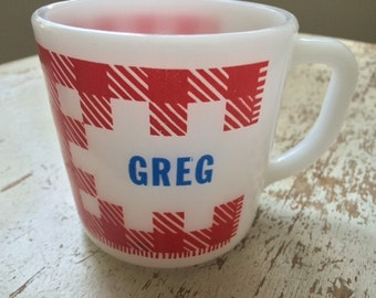 Vintage Westfield Milk Glass Plaid Name Mug Greg Gregory