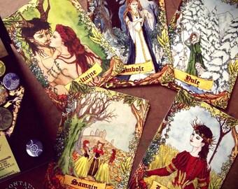 PAGAN SABBATH set of 5 postcards folk fantasy witchcraft pagan celtic wizard ritual, printed Imbolc, Beltane, Lugnasadh, samhain, & yule