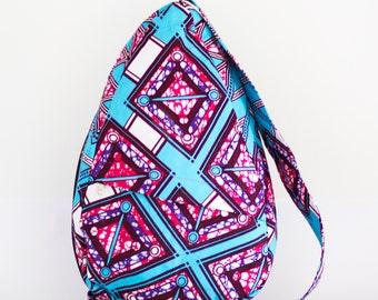 Fair Trade Sling Backpack in Pink Lozenge
