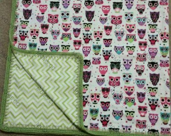 Owl Blanket with Crocheted border