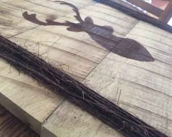 Deer head reclaimed wood sign