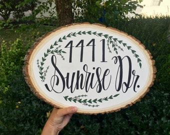 Custom address wood slice